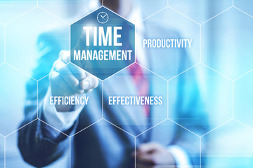 Time management concept pointing finger