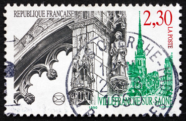 Postage stamp France 1990 View of Villefranche-sur-Saone, France