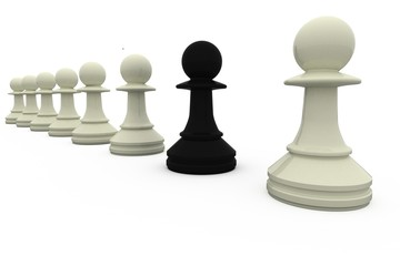 Black chess pawn standing with white pieces