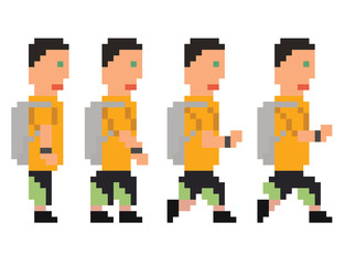 vector illustration - pixel art style drawing of person in yello