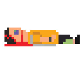 vector illustration - pixel art style drawing passed out boy wit