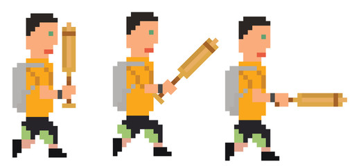 vector illustration - pixel art style drawing person with bat, s