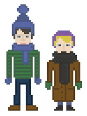 vector illustration - pixel art style drawing boy and girl in wi