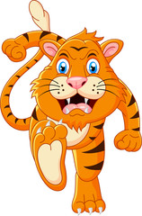 Tiger cartoon running