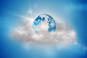 Earth on a floating cloud