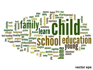 Vector conceptual child education word cloud