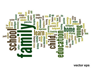 Vector conceptual family education word cloud