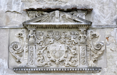 Beautiful stone bas-relief over door