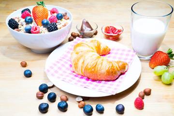 Frühstück Croissant mit Müsli