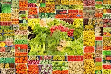 collage de nombreuses photographies de fruits et légumes