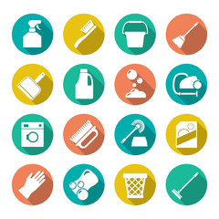 Set flat icons of cleaning