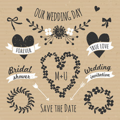 Cardboard Paper Wedding Design Elements