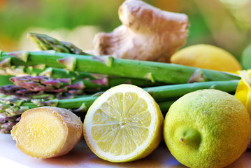 Lemons, ginger and vegetables