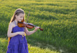 beautiful girl with violin outdoor
