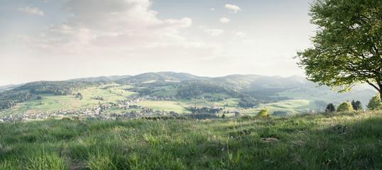 Schöne Landschaft mit Tälern und Hügeln