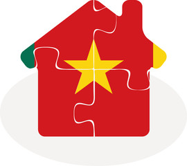 house home icon with Cameroon flag in puzzle