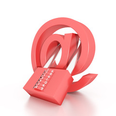 red concept email symbol security padlock on white background