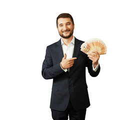 man holding paper money and pointing