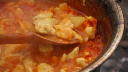 Close up of stirring Hungarian paprika potatoes on a campfire