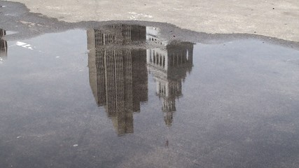 Reflection in a puddle of the San Francisco Ferry Building