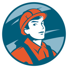 vector emblem with a half-figure builder in helmet