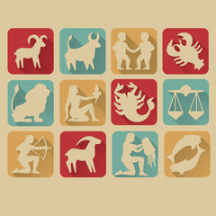 Retro Zodiac Sign Icon Set