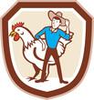 Chicken Farmer Feeder Shield Cartoon