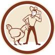 Chicken Farmer Feeder Circle Cartoon