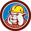 Bulldog Construction Worker Head Cartoon
