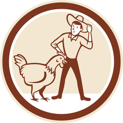 Chicken Farmer Feeder Circle Cartoon