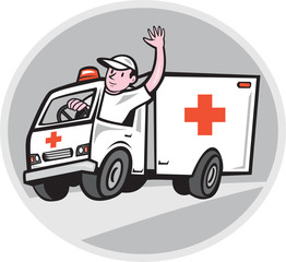 Ambulance Emergency Vehicle Driver Waving Cartoon