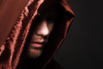 Portrait of mystery unrecognizable monk