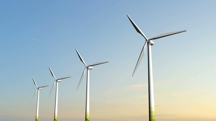 Windmill Turbines in the sunset - Clean Green Wind Energy