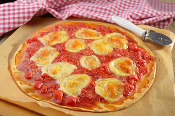 Pizza with tomato and mozzarella