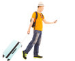 young backpacker carrying a baggage and holding a smartphone