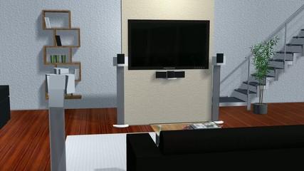 virtual studio room with animated green screen Flat TV