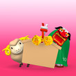 Lion Dance, Sheep With Empty Votive Picture On Pink