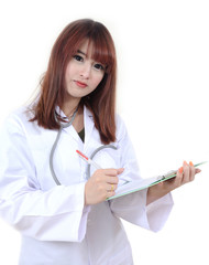 Female doctor working.