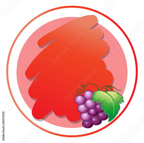 A round empty template with grapes