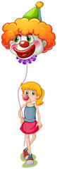 A tall girl holding a clown balloon