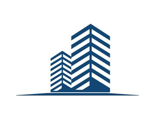 logo symbol icon real estate and rise buildings vectors