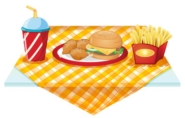 A fastfood table with foods