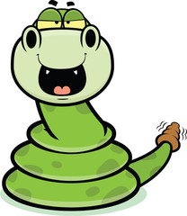 Happy Cartoon Rattle Snake