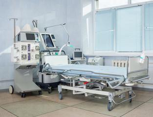 ICU hospital bed.