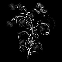 Vector illustration of white floral design over black background