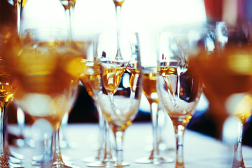 Celebration. Abstract picture of champagne glasses.