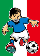 Italy soccer player with flag background