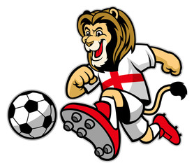 lion playing soccer