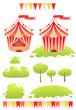 Cute cartoon vector tent show circus