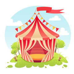Cute cartoon vector tent show circus